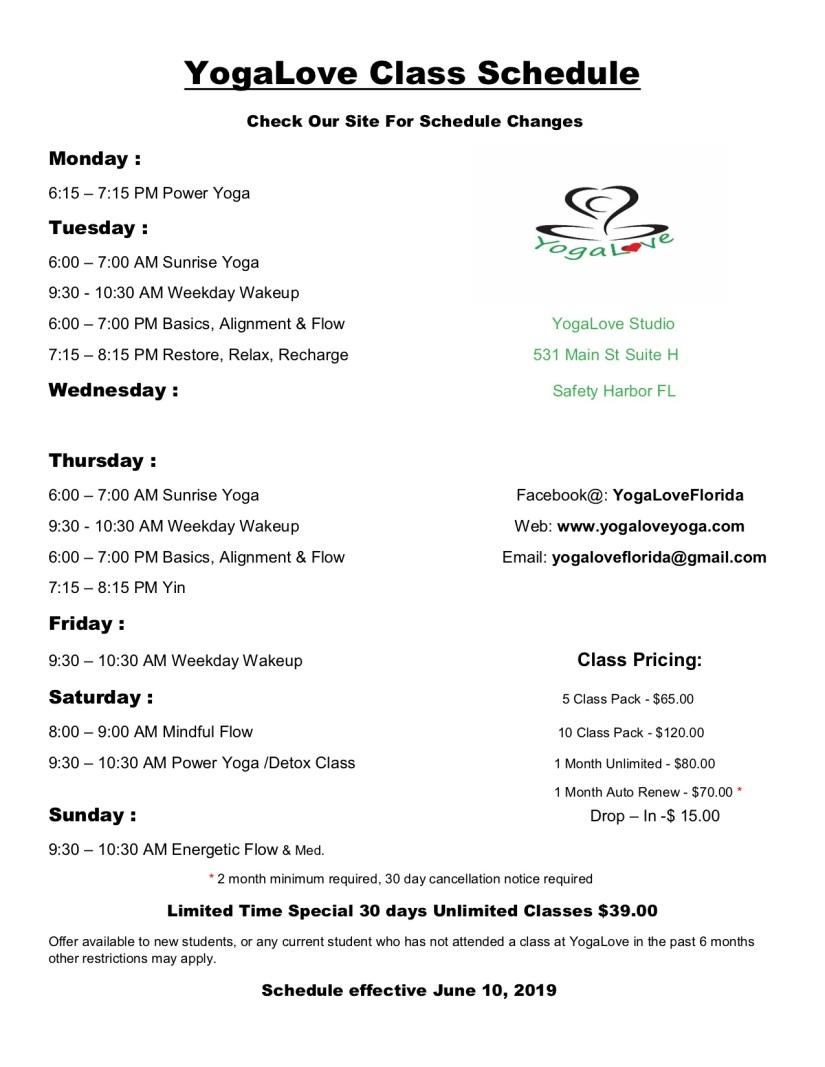 YogaLove Class Schedule june 10, 2019