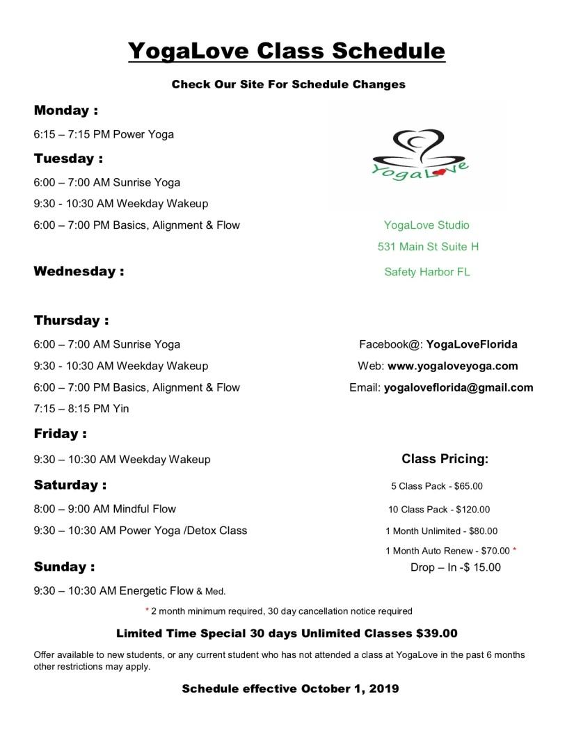 YogaLove Class Schedule Oct. 1, 2019