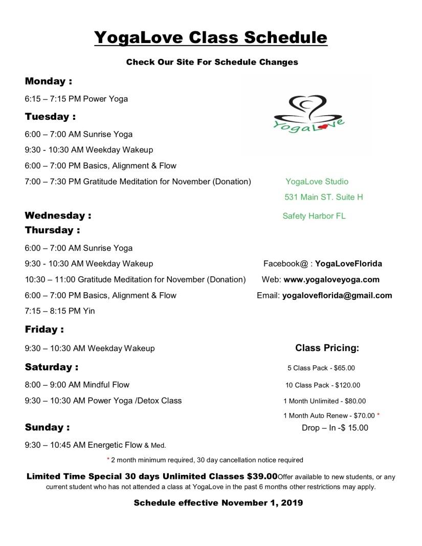 YogaLove Class Schedule Nov. 1, 2019