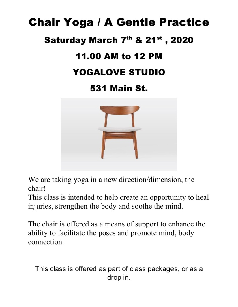 Chair yoga March 7th & 21st